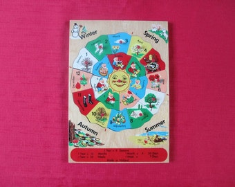 Vintage Wooden Simplex Seasons Puzzle Made in Holland 20 Pieces Rare