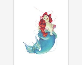Mermaid Mythical Creature Print A5