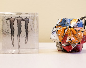 Monster Ultra Can Origami Ornament (5 Mix) //  Upcycled Recycled Repurposed Art // Valentines Day // weird gifts // gift for him