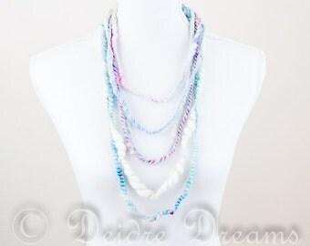 Multicolour Bib Necklace, Layered Necklace, Pastel Multi Strand Necklace, Statement Bridal Necklace, Fiber Necklace Eco Chic Wedding Jewelry
