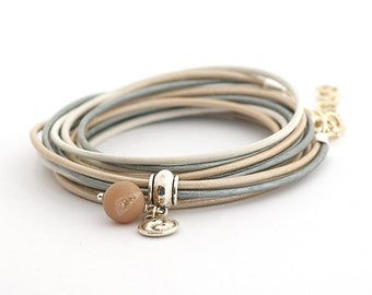 Champagne Druzy Bracelet, Cream Silver Boho Bracelet, Yin Yang Yoga Bracelet, Pastel Colors Bohemian Jewelry gift for her