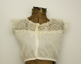 1910s corset cover | edwardian linen and lace top