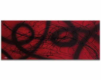 Mendo Vasilevski 'Connected' - Black & Deep Red Painting, Modern Abstract Art, Contemporary Urban Decor