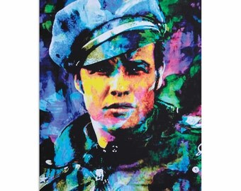 Pop Art 'Marlon Brando Whadda Ya Got' by Artist Mark Lewis, Colorful Marlon Brando Painting Limited Edition Giclee Print on Metal or Acrylic