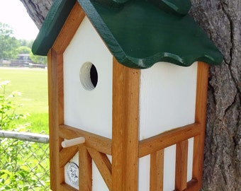 Unique hand crafted outdoor wood, hand painted bird house/nesting box - cleanable - Green roof Tudor style 1 - Made in USA fully functional