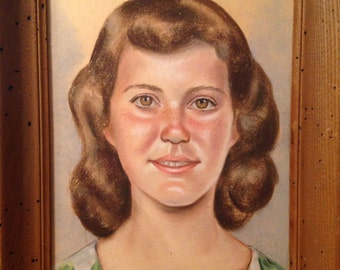 ADORABLE Large Vintage Pastel Portrait Signed Dated March 19, 1959 D. Shirly (?) - Rustic Frame - EXCELLENT Condition