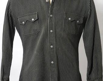 30's/40's Nathan Turk Western Grey & Black Striped Shirt Sz S