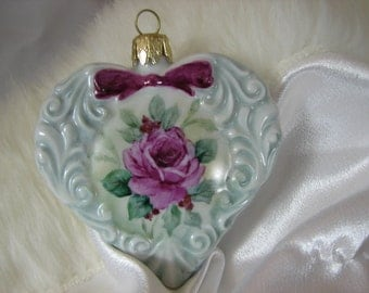 Victorian style Christmas Ornament, hand painted roses on a heart shape
