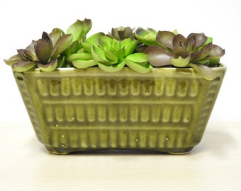 Glazed Green Planter - Vintage Pottery, Basket Weave Pattern, Rectangular Flower Pot 1950-60s  / Mid Century Retro Decor