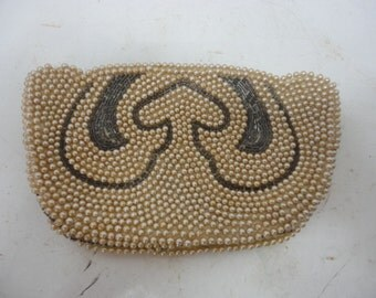Vintage Small Silvercraft Beige Pearl & Brown Glass Beaded Clutch Purse Hand Made in Japan