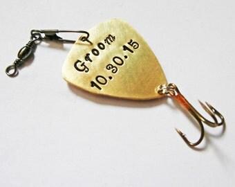 Personalized Fishing Lure, Fishing spoon, Keepsake Lure, Groom Gift, Husband Gift, Wedding Gift, Man Gift, Engraved for him, fishing hook
