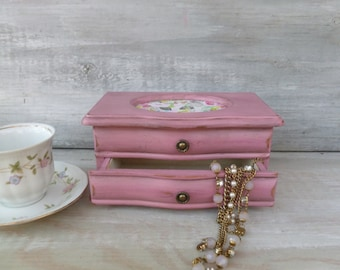 Pink Jewelry Box, Upcycled Jeweley Box, Distressed Box, Cottage Style, Small Jewelry Box