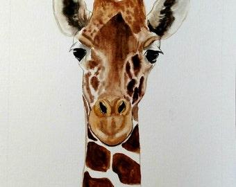 """ORIGINAL giraffe watercolor painting 8""""x 10"""" in 8.5""""x 11"""" paper / Watercolor giraffe / Giraffe Art"""