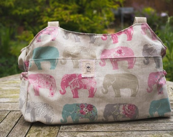 Shoulder bag, elephant baby bag, baby changing bag, diaper bag, large purse, baby shower gift, elephant bag, nappy bag, maternity bag