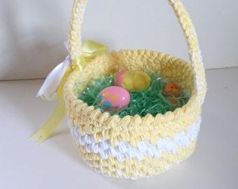 First Keepsake Larger Easter Basket, Soft Yellow Easter Egg Basket, Baby Shower Gift, Crochet Baskets for Nursery, Cotton Storage Baskets