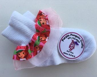 Super cute Strawberry Shortcke Ruffle Socks Add bows