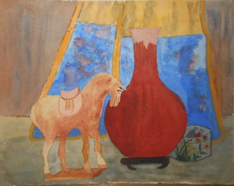 Vintage water color study Chinese objects tang horse dated 1953