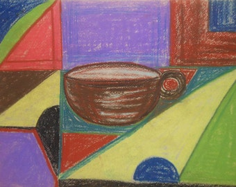 Vintage tea cup pastel abstract cubist painting