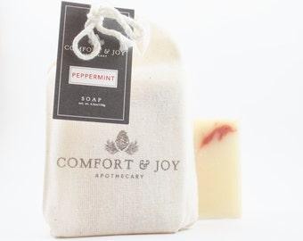 Peppermint Soap, Handmade Soap, Holiday Soap, Christmas Soap, Natural Soap, Vegan Soap
