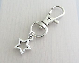 Silver Star Charm Purse Clip, Hollow Star Zipper Pull, Star Handbag Charm, Celestial Bag Charm, Night Sky Handbag Charm