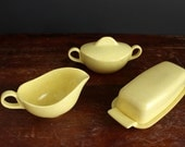 Vintage Melamine Yellow with White Speckle Hostess Set Melmac Creamer, Covered Sugar Bowl and Butter Dish