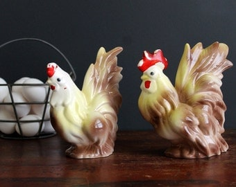 Vintage Yellow and Brown Hen and Rooster Chicken Set Country Farmhouse Chic Figurines