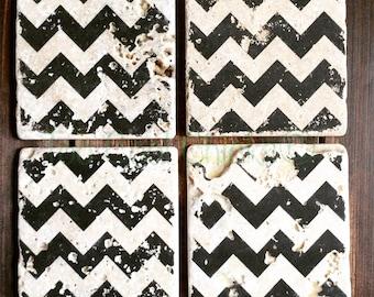Chevron Print Tumbled Marble Coasters