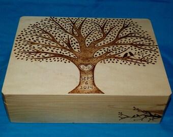 Bridal Gift Set, 1 Wood Burned Wedding Keepsake Box- 1 Wooden Wedding Recipe Card Box Rustic Wedding Tree Personalized Owl Love Birds Gift