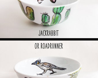 Cactus Bowl - Roadrunner Design - Hand Painted