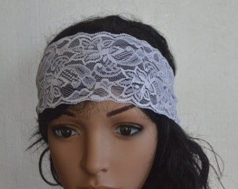 White Lace Headband, Stretchy Headband, White Color, something white