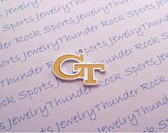 6 Georgia Tech Yellow Jackets Charms Large Silver Plated University Pendants