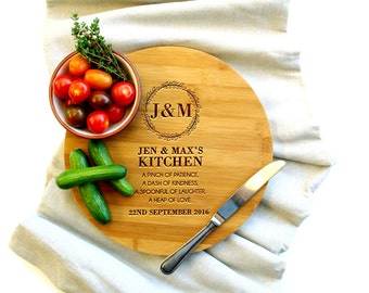Personalized Cutting Board, Custom Cutting Board, Housewarming gift, Kitchen Saying Wreath