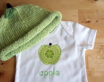 GREEN APPLE Hat and Onesie / Bodysuit Gift Set - Baby Girl or Boy, Short Sleeve, Two Piece  - Available in NB, 3, 6, 9, 12, 18 and 24 months