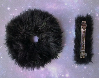 Black Fur Large Hair Scrunchies, Fuzzy Goth Scrunchies, Furry Hair Tie, Fur Hair Clip, Gift Set for Her, 1 or Both, French Barrette