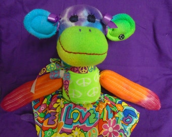 Tie Dye Sock Monkey Girl Doll With Peace Sign Sweater And LOVE Floral Skirt