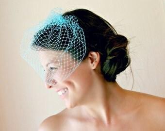 Turquoise Birdcage Veil, Turquoise Veil, Wedding Veil, Turquoise Bridal Veil, Bride's Veil, Costume, Event, Party, Gala