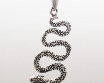 Snake Pendant, Silver Snake, 925 Sterling Silver Pendant - ID: 281 - 56