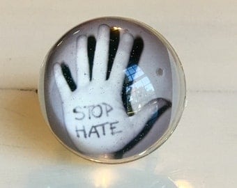 Stop Hate Ring - Stop Hate - Love Ring - Love Jewelry - Peace Ring - Peace Jewelry - Peace - Tolerance - Ring - Statement Ring
