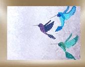 original painting hummingbird textured art bird garden 48x36 FREE SHIP