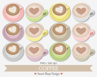 Coffee Clip Art, Coffee Cup Clipart, Digital Clip Art, Coffee Art, Pastel, Instant Download
