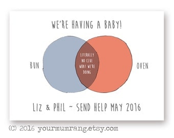 Printable pregnancy announcement postcard . Funny venn diagram . Hipster we're expecting a baby card. British humour . Digital file download
