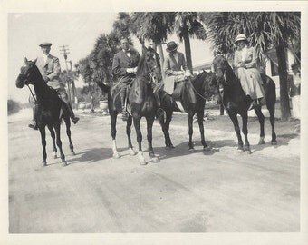 Under the Palms - Antique 1910s Equestrians and Horses Silver Gelatin Print Photograph