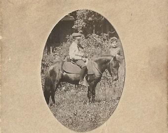 My Pocket Pony - Antique 1900s Tiny Cabinet Card Silver Gelatin Print Photograph