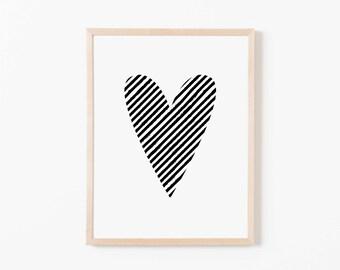 Black Stripe Heart Nursery Art. Nursery Wall Art. Nursery Prints. Nursery Decor. Girl Wall Art. Black Wall Art. Instant Download.
