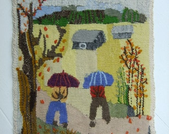 Vintage Swedish Hand woven Flemish weave  - Couples with umbrellas