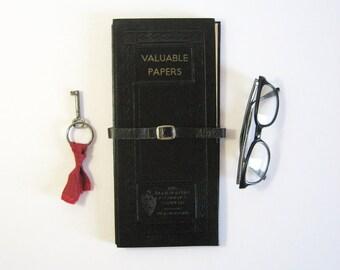 Valuable Papers - Vintage Office Organizer - Important Document Folder - Black Folio - Document Storage Stock Portfolio - Office Desk Decor