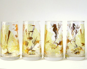 4 Culver Glasses Under The Sea 60s 22 Karat Gold Yellow Aquatic Fish Sea Horse Coral Fused Glass Barware Rare Shape Tapers Up Hollywood Glam