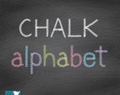 70% Sale Hand Drawn Chalk Alphabet - Digital Clipart / Scrapbooking colorful - card design, invitations, web design - INSTANT DOWNLOAD