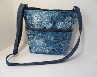 Navy paisley cross body purse. Shoulder crossover purse with zipper top, adjustable strap, padded for protection of tablet or I pad.