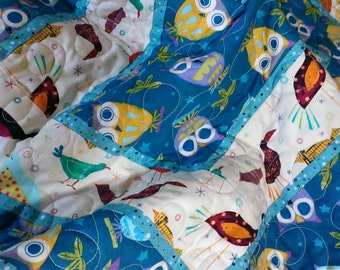 Handmade baby boys owl quilt: dark aqua blue owls and birds